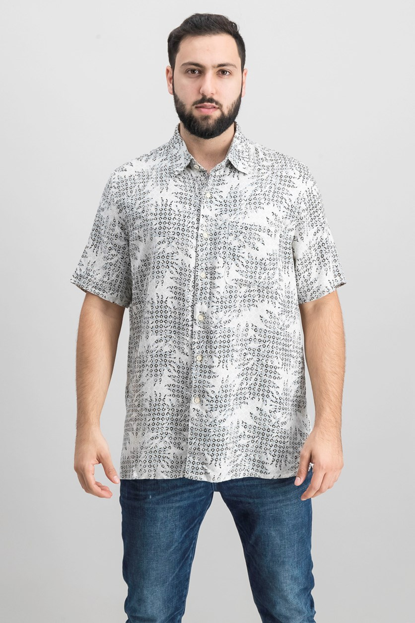 Island Men's Leaf Medallion-Print Shirt, Khaki Combo