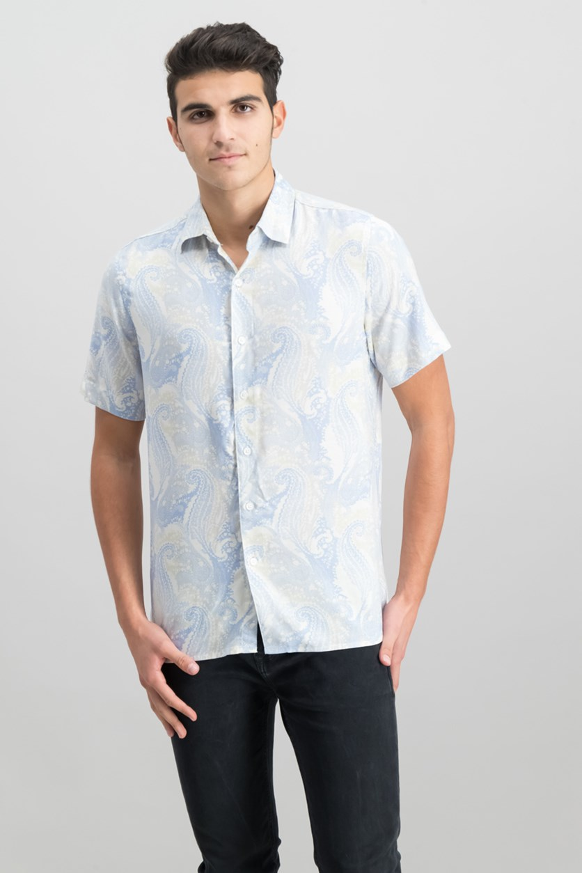 Men's Paisley-Print Shirt, Light Blue Combo