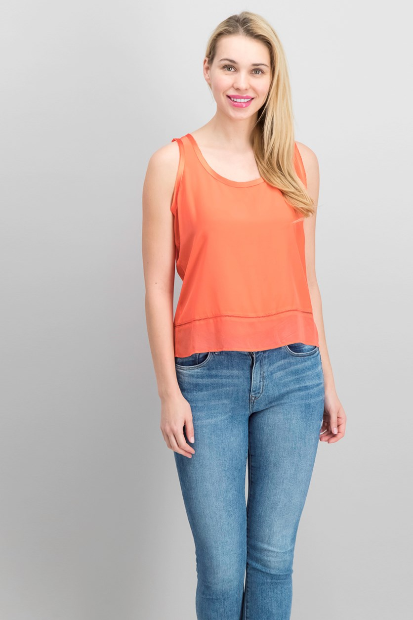Women's Scoop-Neck Tank, Hot Coral