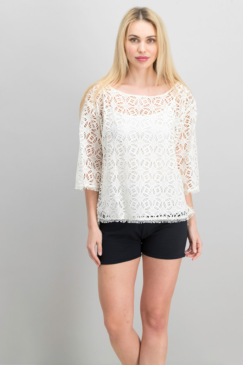 Women Petite Boxy Beach Top, Ivory
