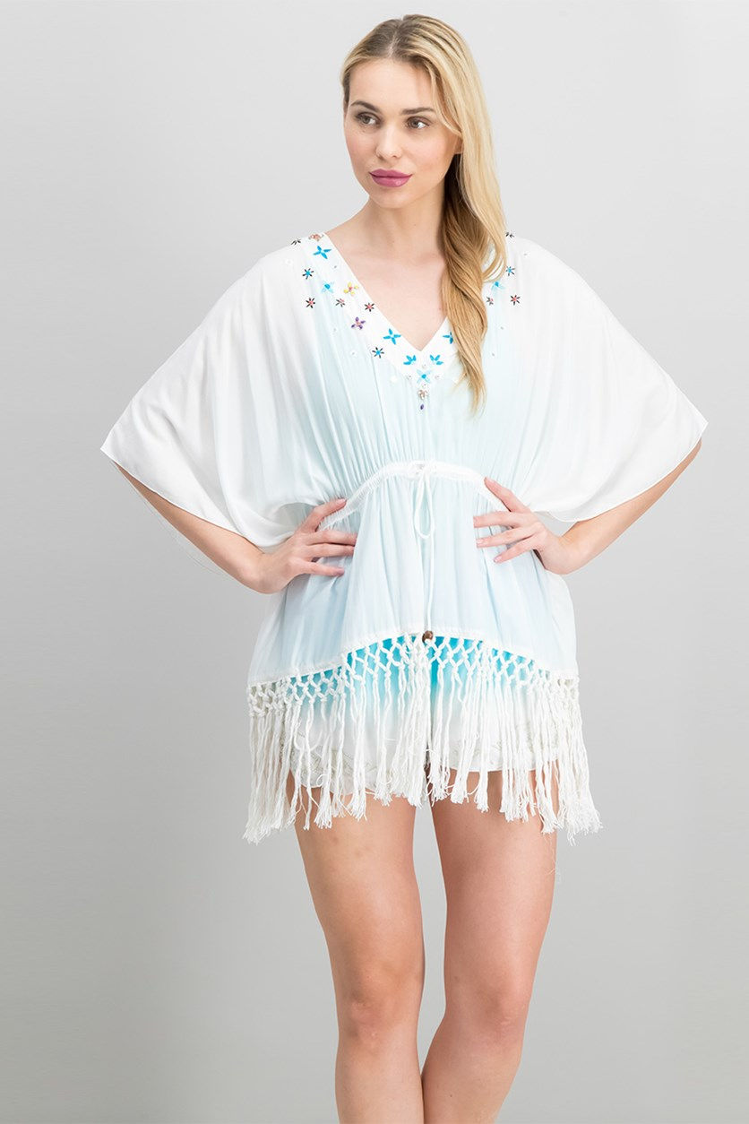 Women Petite Embroidered Beach Top, White