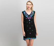 Nicole Miller Petite Embroidered Shift Dress, Black Combo