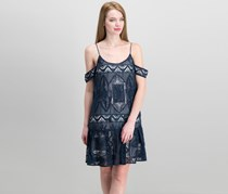 Embroidered Crinkle Chiffon Dress, Navy