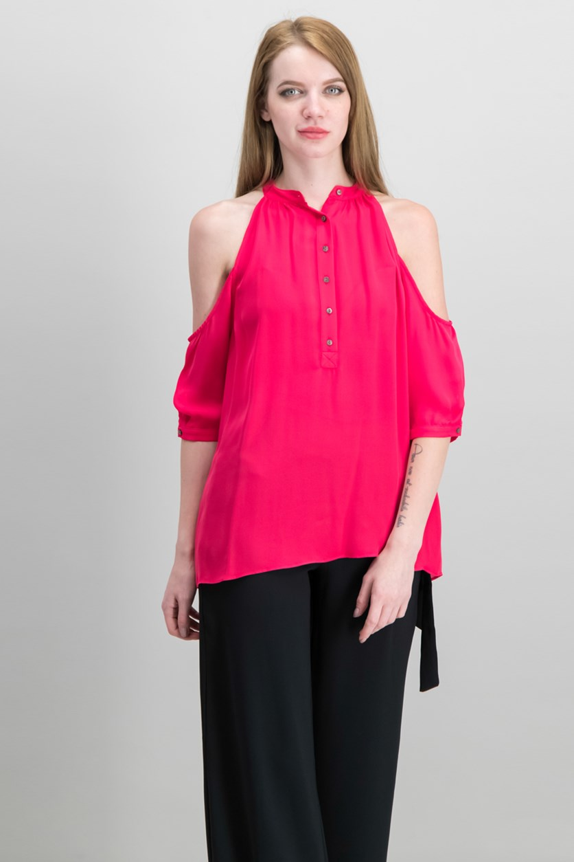 Women's Petite Silk Cold Shoulder Blouse, Dark Pink