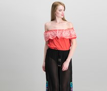 Nicole Miller Kalina Embroidered Top, Coral