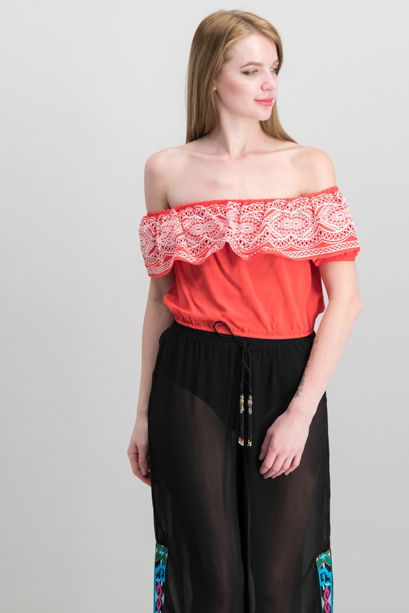 Kalina Embroidered Top, Coral