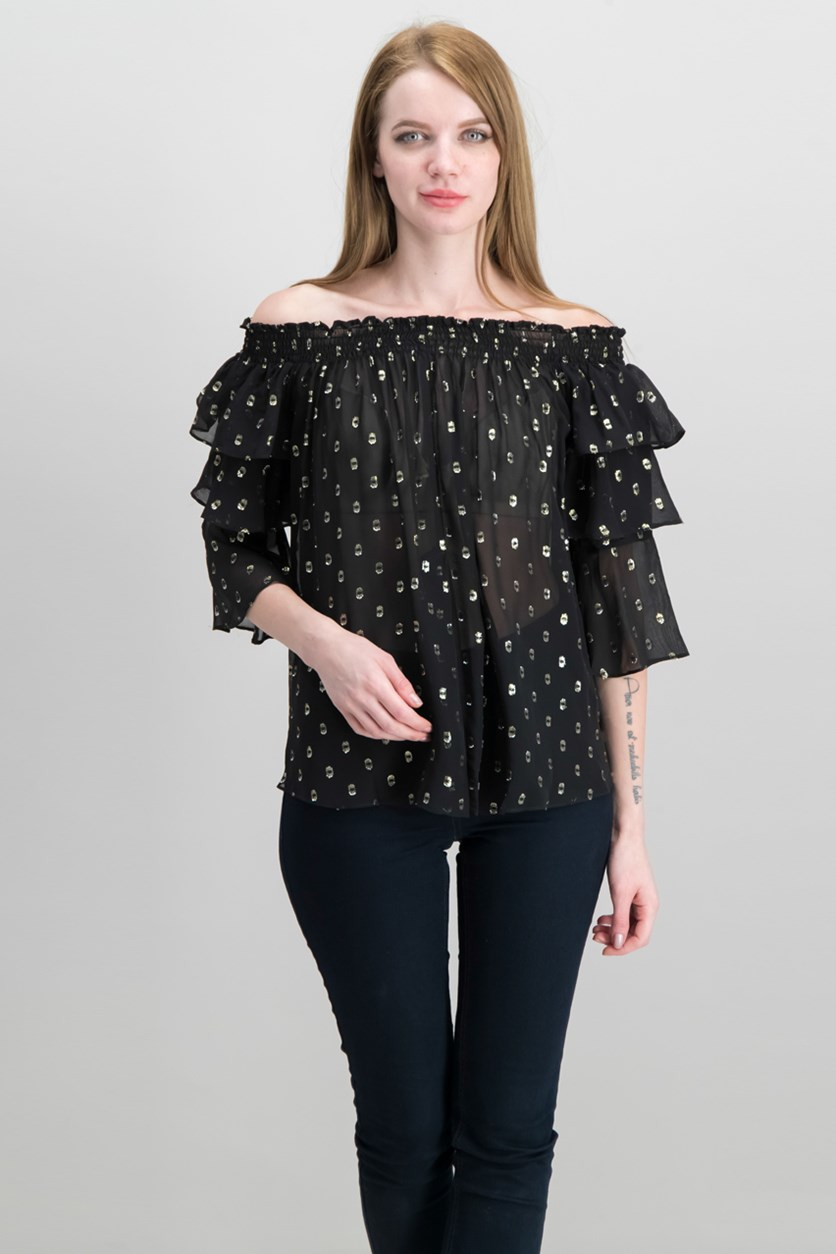 Women's Petite Off The Shoulder Top, Black