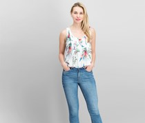 Nicole Miller Women's Floral Print Top, White Combo