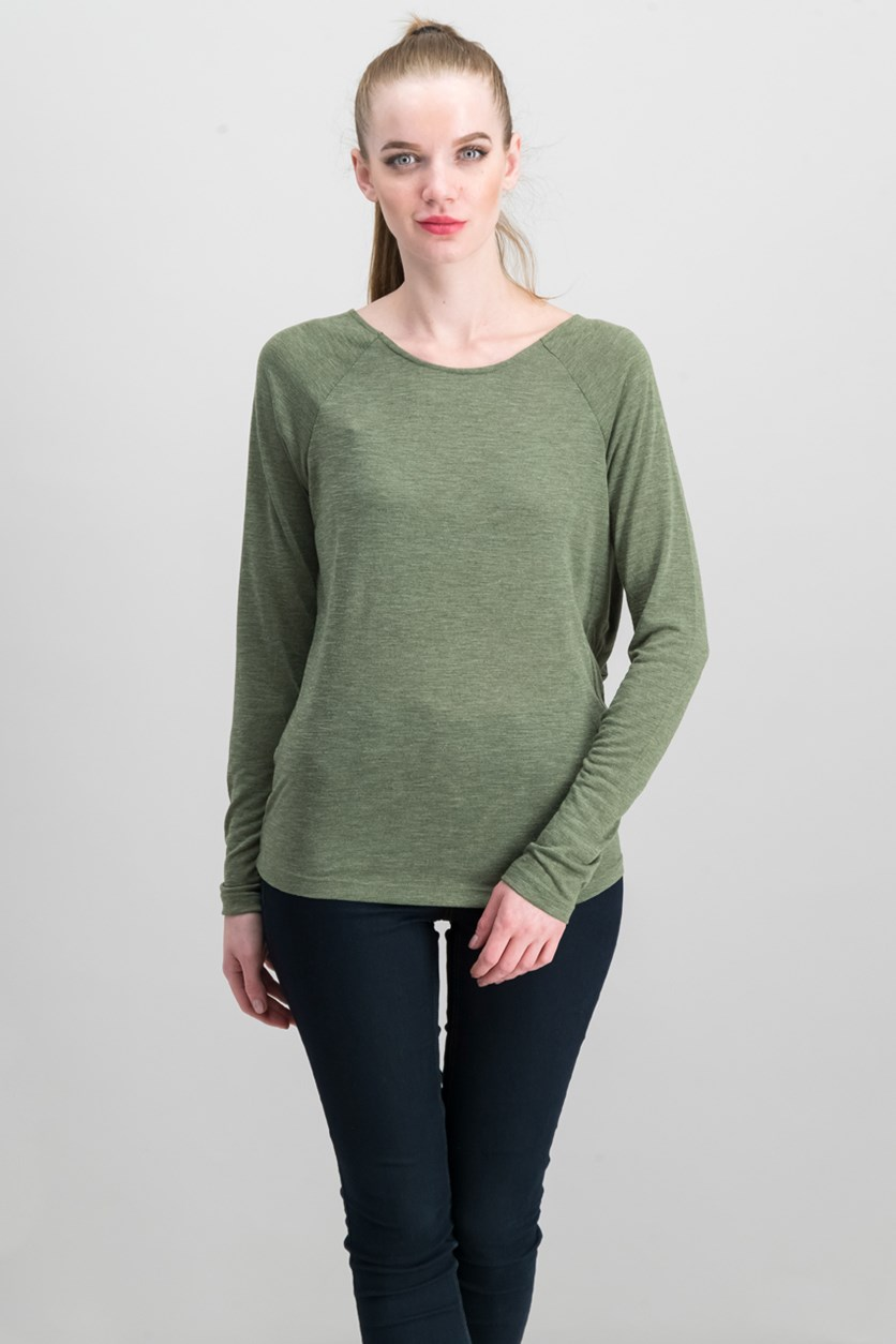 Women's Open Back Long Sleeve Tee, Army green