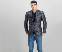 International Concepts Mens Slim-Fit Party Jacquard Jacket, Black Combo