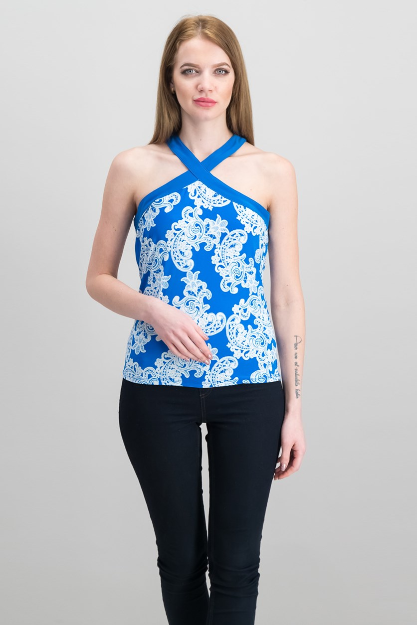 Women's Printed Halter Top, Blue/White