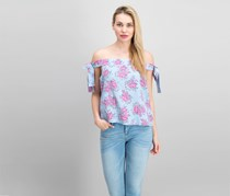 No Comment Juniors' Off-The-Shoulder Tie-Sleeve Top, Pink/Sky Blue