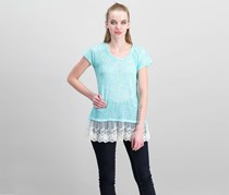 Moa Moa Women's Lace Details Top, White/Mint
