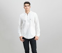 International Concepts Men's Half-Zip Linen-Blend Hoodie, White