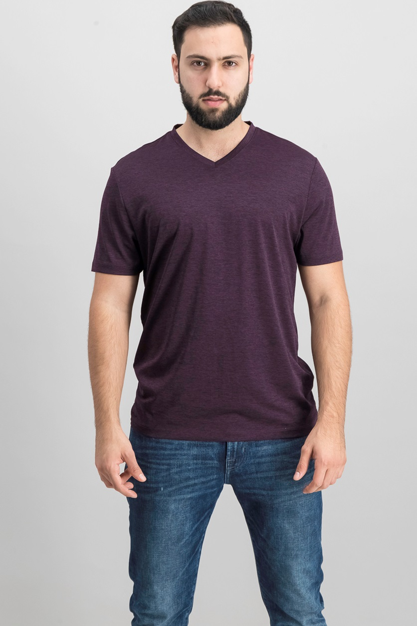 ab8a357a5849 Shop Alfani Alfani Men Ethan Performance T-Shirt, Eggplant for Men ...