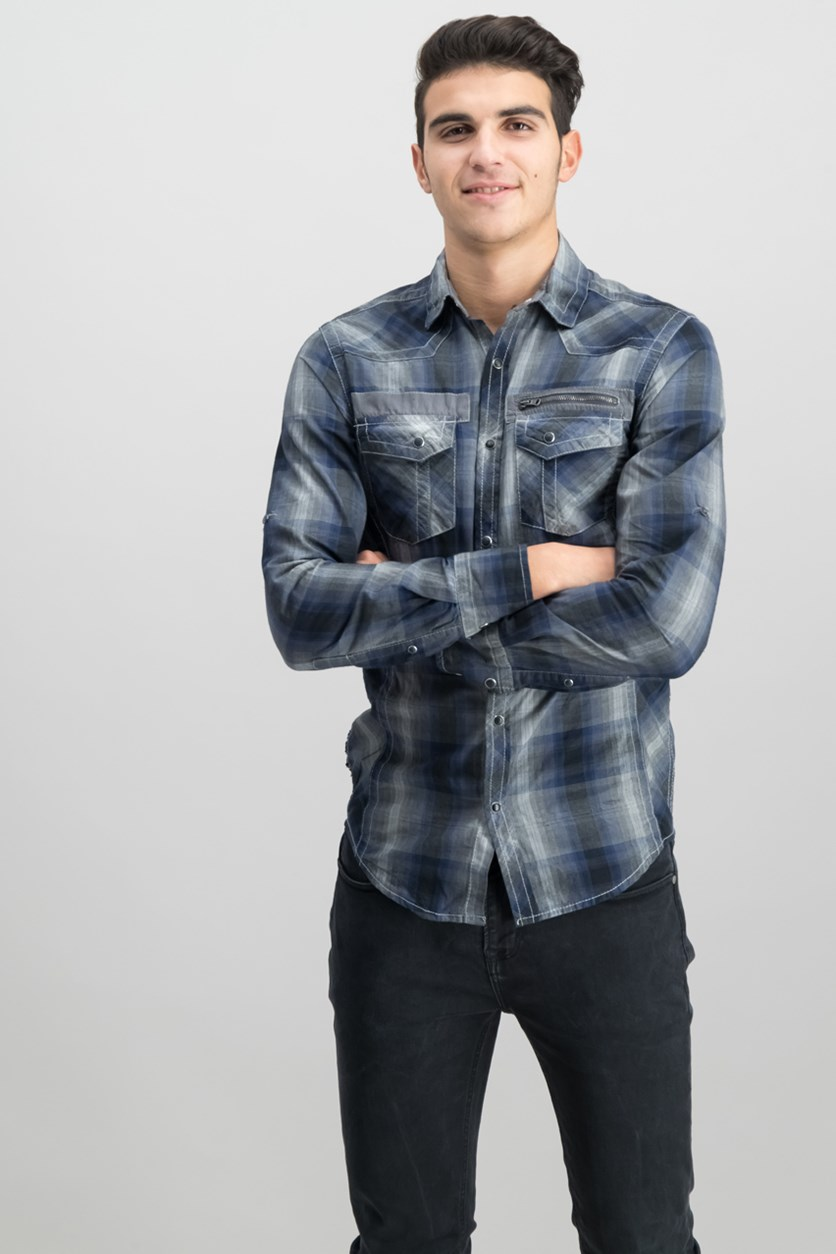 Mens Johnny Plaid Shirt, Black/Navy combo