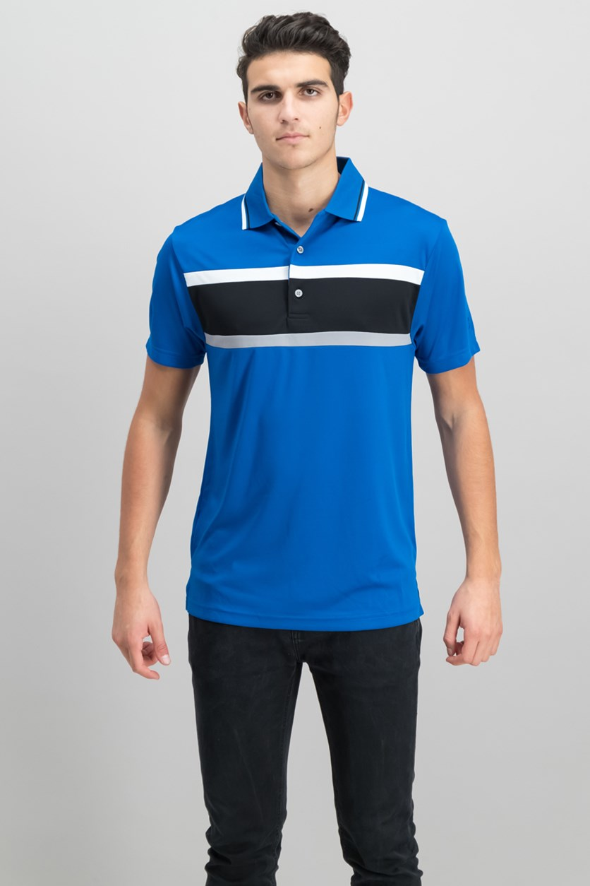 Mens Colorblocked Polo, Classic Blue