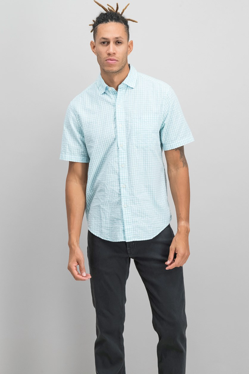 Men's Key Largo Check Short Sleeve, Light Sky