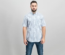 Club Room Men's Floral-Print Shirt, Bright White/Grey