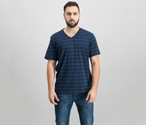 INC International Concepts Mens Stretch V-Neck Striped T-shirt, Navy Stripe