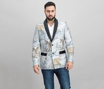 INC Mens Slim-Fit Smoking Jacket, Grey Combo
