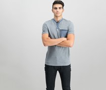 INC International Concepts Mens Contrast Pocket Henley, Heather Grey