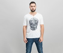 INC International Concepts Mens Sequined Skull T-Shirt, White Pure