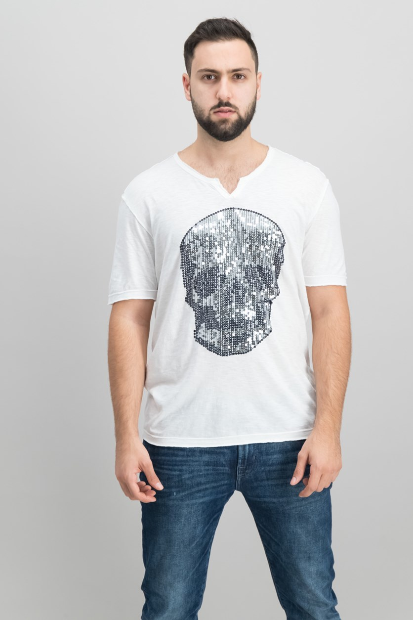 International Concepts Mens Sequined Skull T-Shirt, White Pure