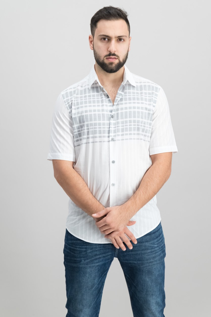 Mens Stripe Grid Shirt, Bright White