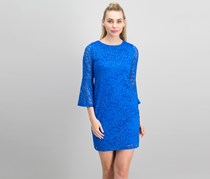 Alfani Petite Lace Bell-Sleeve Dress, Stormy Sea