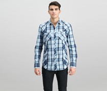 International Concepts Mens Markallen Plaid Shirt,  Pool Party Blue
