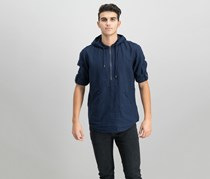INC Men's Half-Zip Linen-Blend Hoodie, Basic Navy