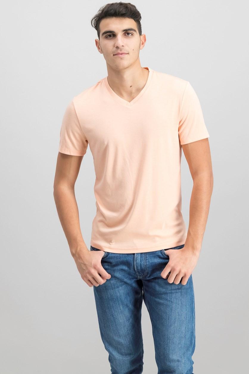 Mens Travel Stretch T-Shirt, Peachy Keen