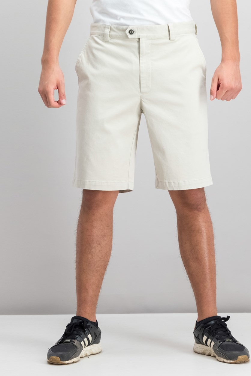 Mens Twill Stretch Shorts, Stone Wall