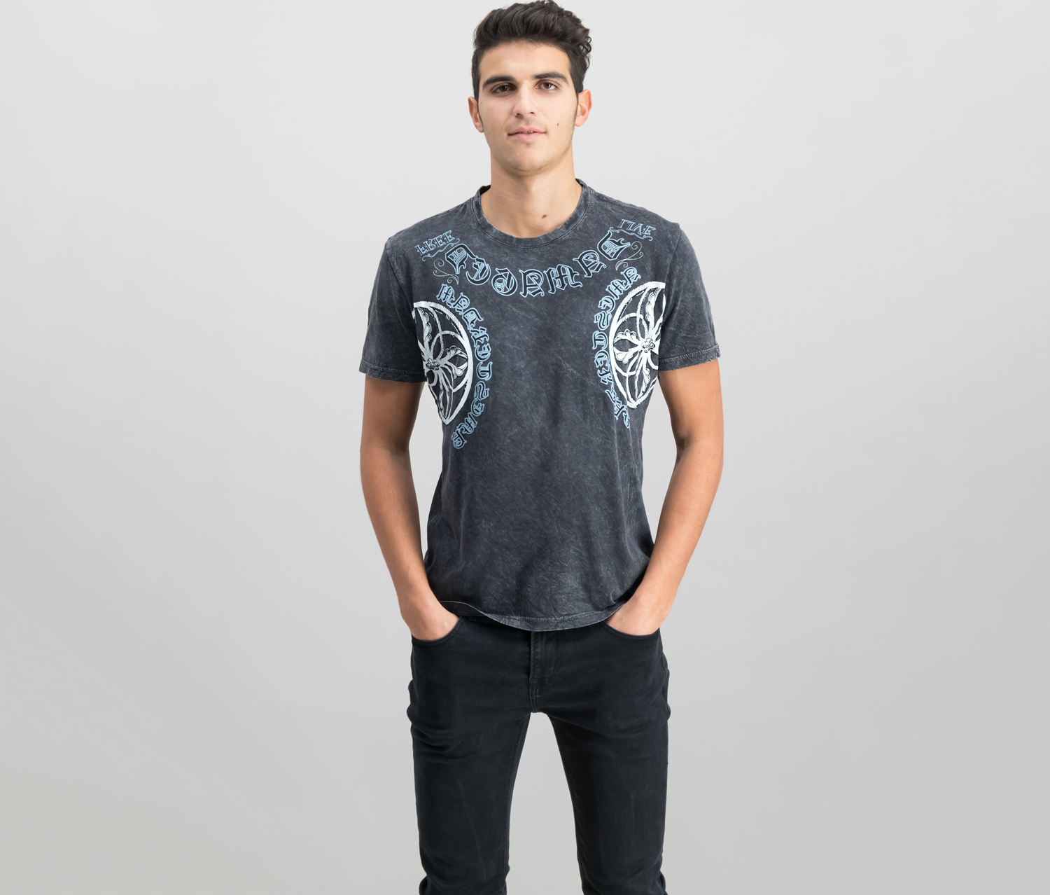 International Concepts Mens Graphic-Print T-Shirt, Deep Black
