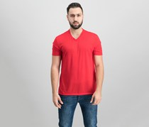 International Concepts Mens V-Neck T-Shirt, Licorice Red
