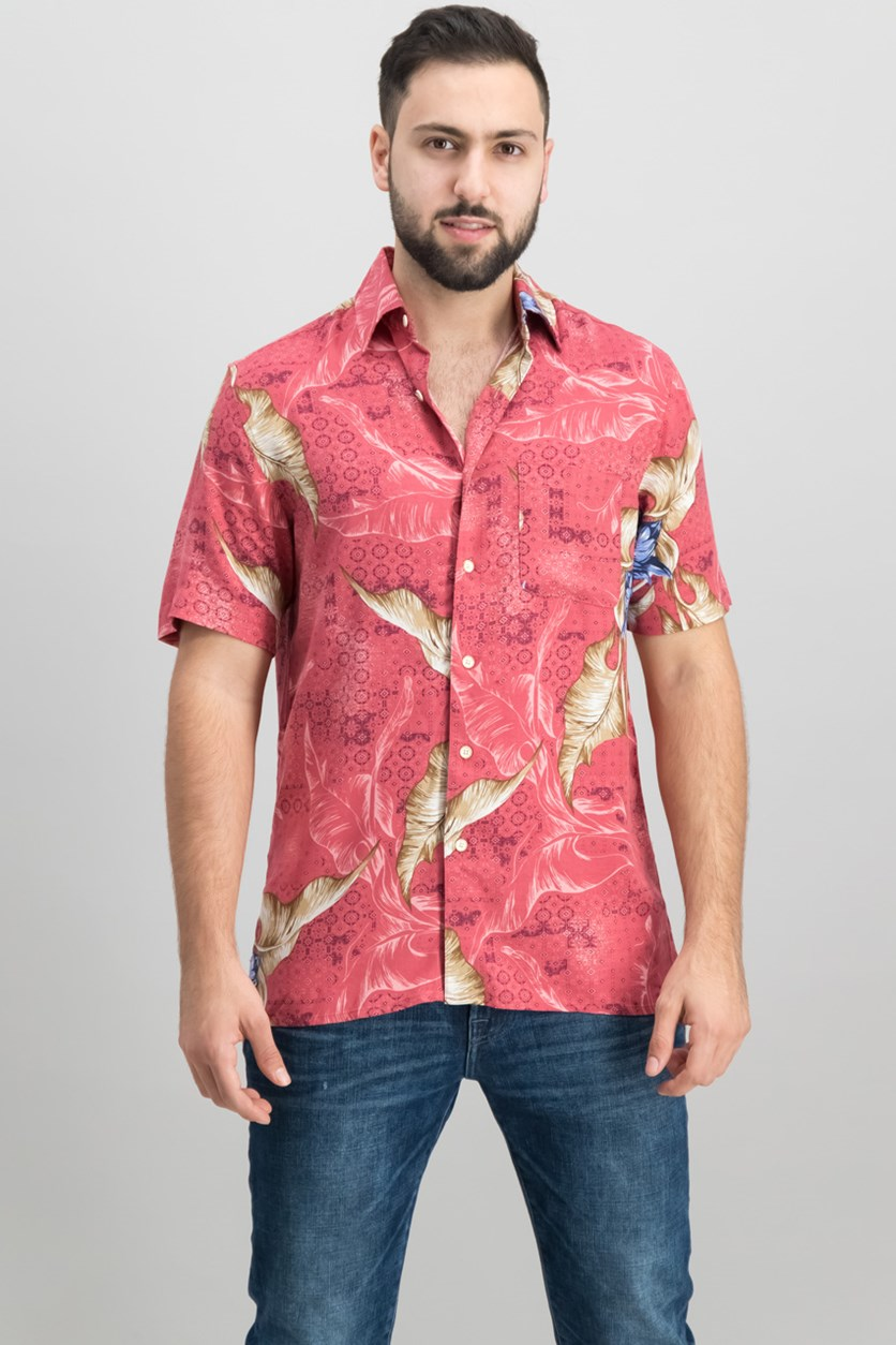 Men's Tropical-Print Shirt, Coral Combo