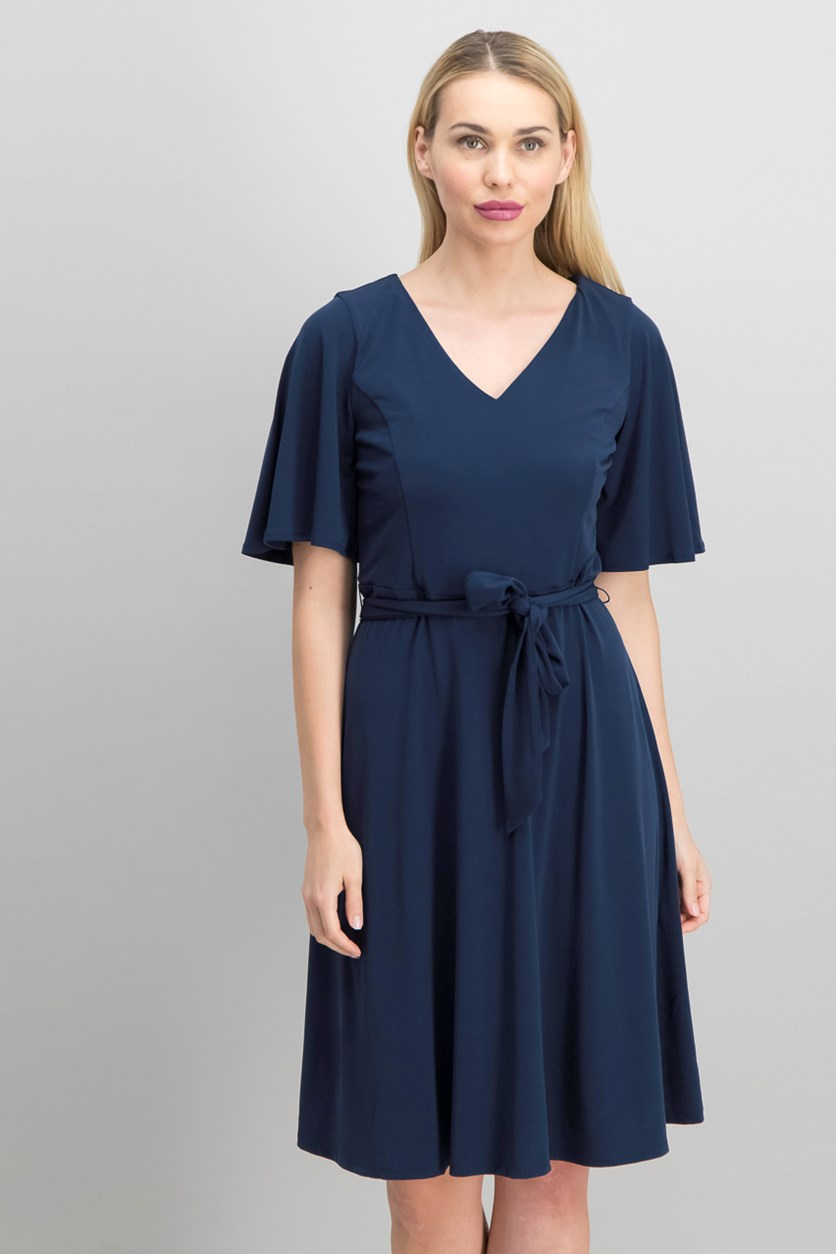 Petite Belted A-Line Dress, Intrepid Blue