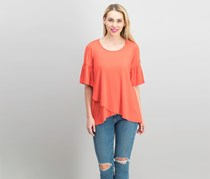 Karen Kane Women High-Low Wrap Top, Coral