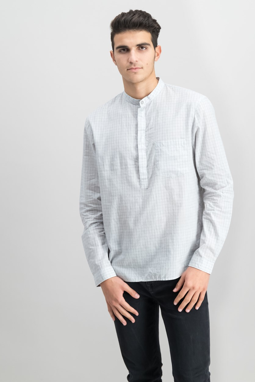 Jeans Mens Banded-Collar Grid-Print Shirt, Lunar Rock