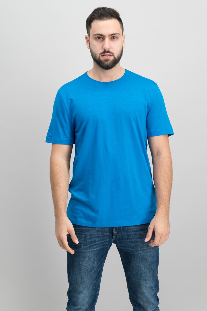 Mens Mercerized Solid T-Shirt, Mykonos Blue