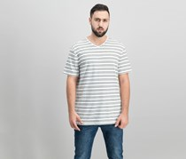 DKNY Mens Mercerized Stripe T-Shirt, White/Fatigue