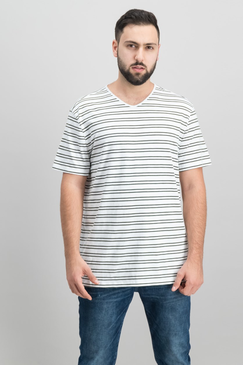 Mens Mercerized Stripe T-Shirt, White/Fatigue