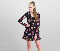 Xoxo Juniors' Ruffled Wrap Dress, Black/Pink