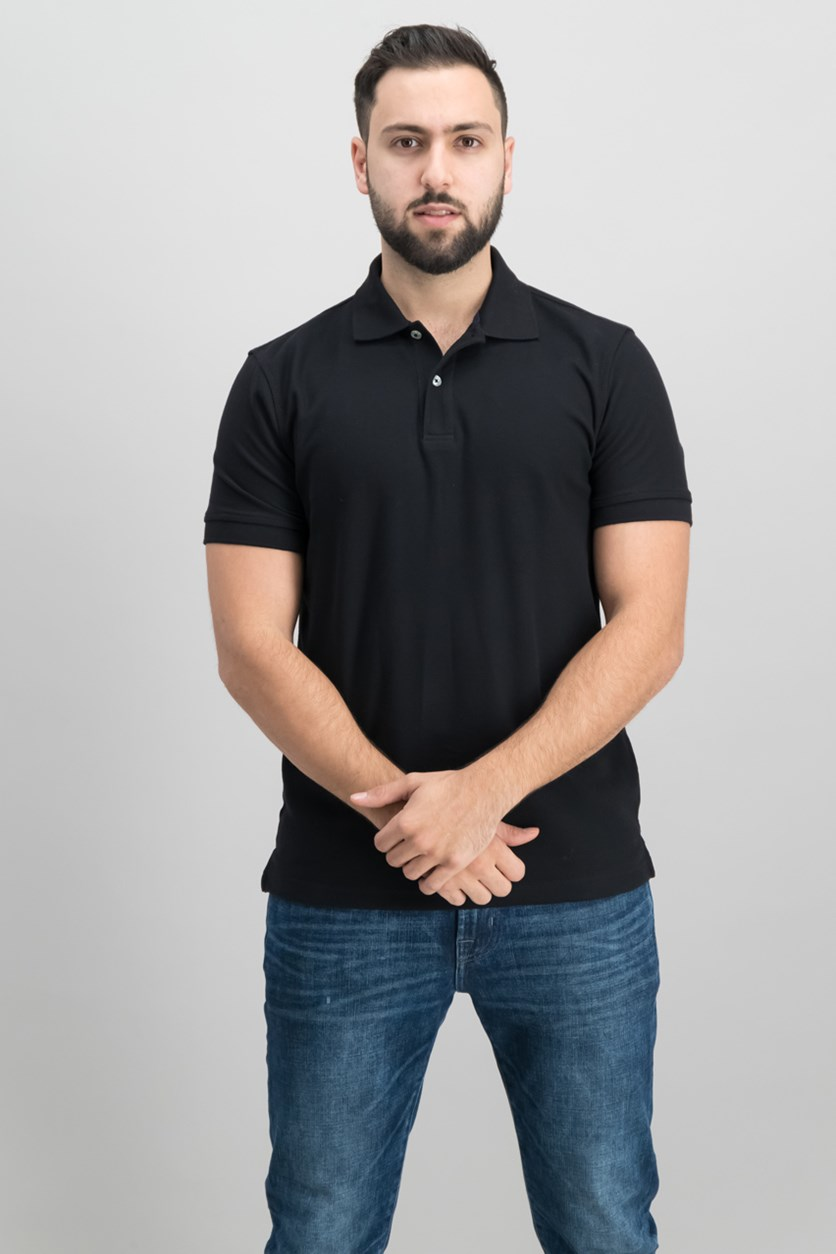 Short Sleeve Solid Estate Performance Polo, Deep Black