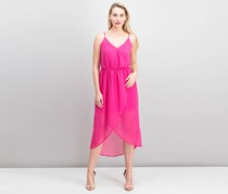 Bobi Black Mixed Chiffon Wrap Dress, Berry