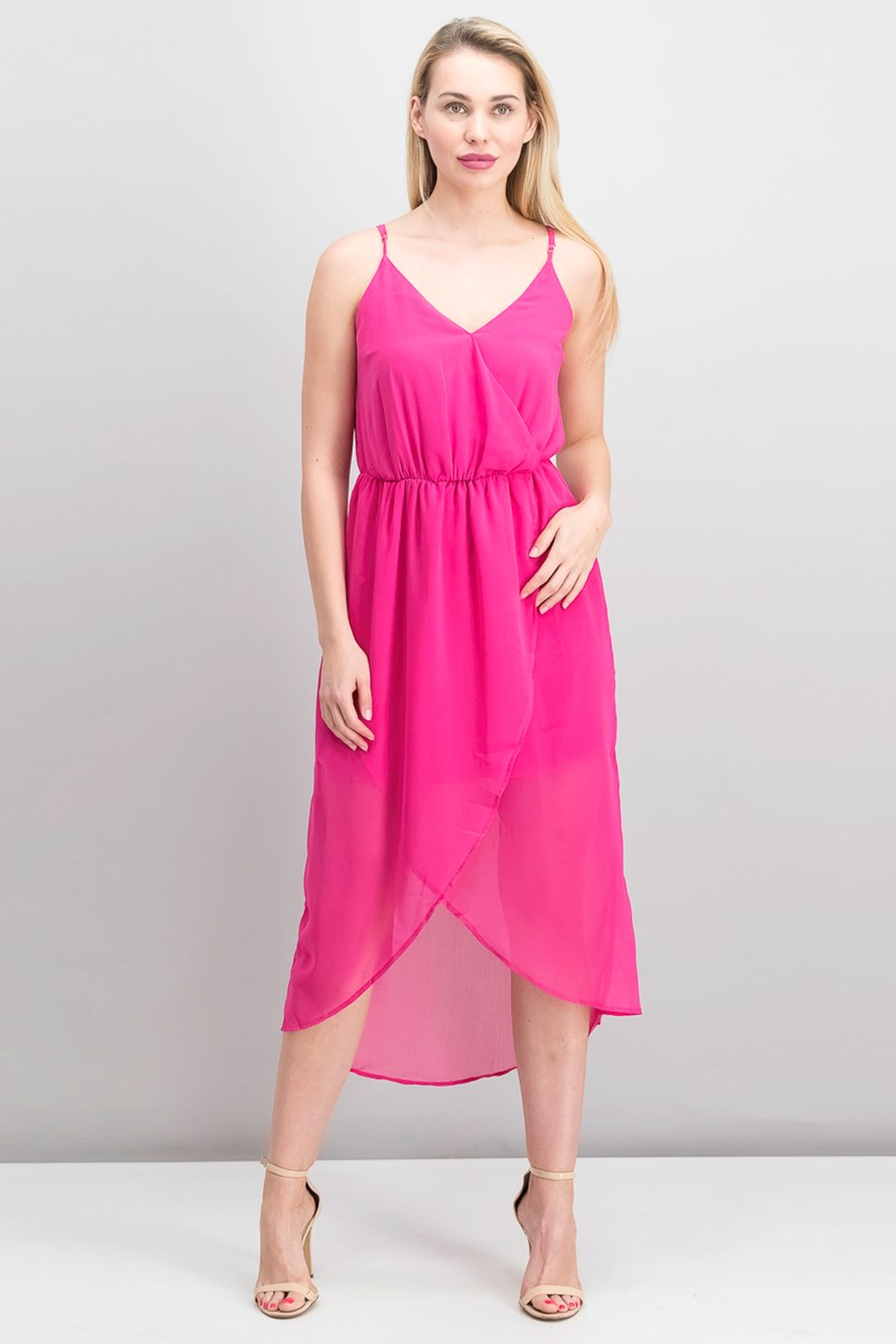 Mixed Chiffon Wrap Dress, Berry