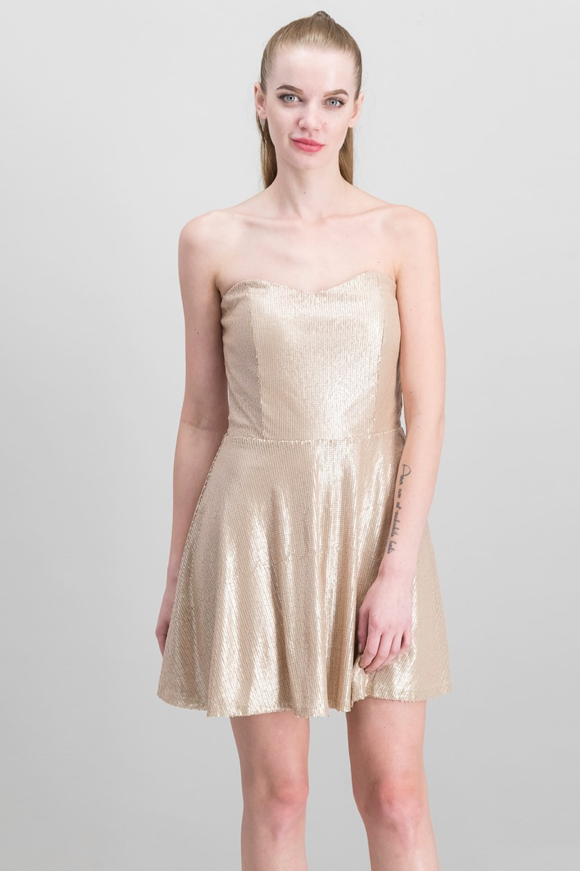 Bobi  Black Women's Strapless Dress, Rose Gold
