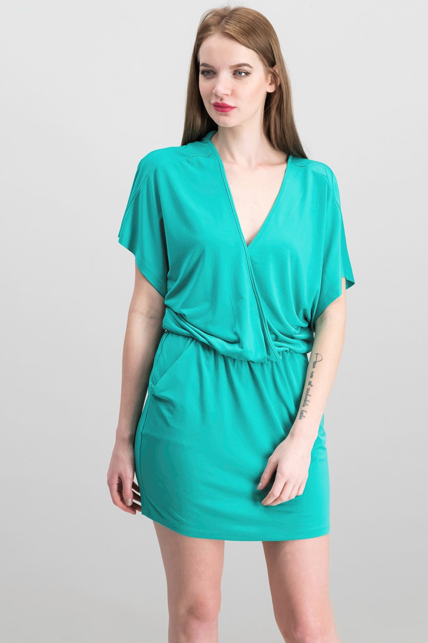 Women's Dolman Buckle Back Dress, Seafoam