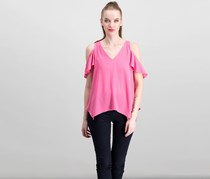 Necessary Objects Women's V-Neck Top, Pink